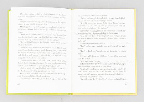 """Bok, """"lillebror och karlsson på taket"""", signerad samt stenograferad."""