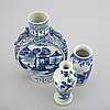 Six blue and white porcelain objects, qing dynasty, 18th-19th century.