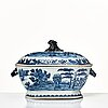 A blue and white tureen with cover and stand, qing dynasty, qianlong (1736-95).