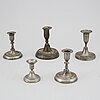 Ljusstakar, 5 st, tenn, 1800-tal.