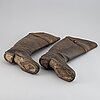 A pair of napoleonic leather cavalry boots, early 19th century.