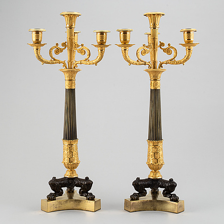 Kandelabrar, ett par, förgylld och patinerad brons, senempire, 1800-talets mitt.