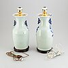 A pair of chinese vases mounted as lamps, first half of 20th century.