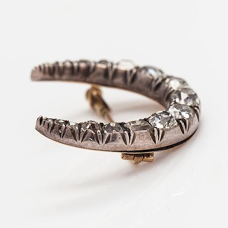 Brosch, 14k guld och silver, gammalslipade diamanter ca 1.24 ct tot. sent 1800-tal.