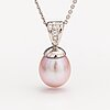 A 14k white gold necklace with a cultured pearl and diamonds ca. 0.075 c in total.