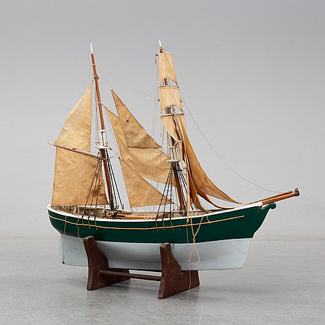 A model of a ship, mid 20th century.