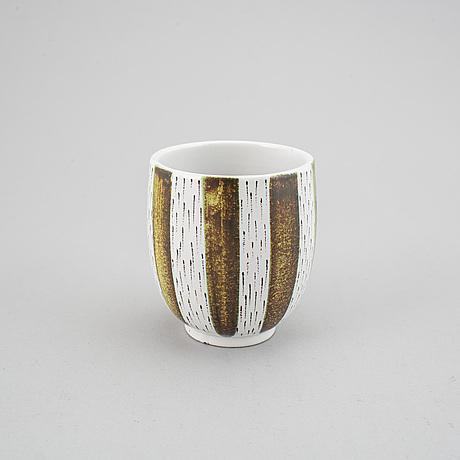 Stig lindberg, vase, two small dishes and a knife-holder. gustavsberg studio. (4).