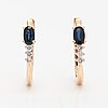 A pair of 14k gold earrings with sapphires and diamonds ca. 0.12 ct in total. soviet union.