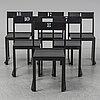 Sven markelius, six 'orkesterstolen' chairs, mid 20th century.