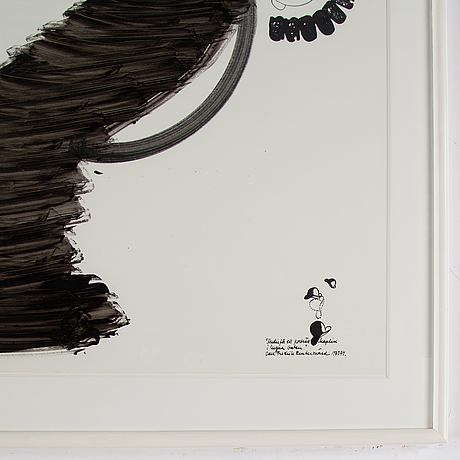 Carl fredrik reuterswÄrd, ink & gouache, signed and dated 1973-73.