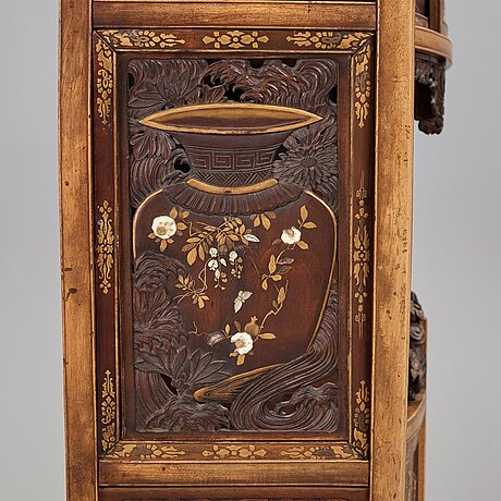 A japanese black and gilt lacquer, mother of pearl and bone inlaid hardwood shodona, edo period.