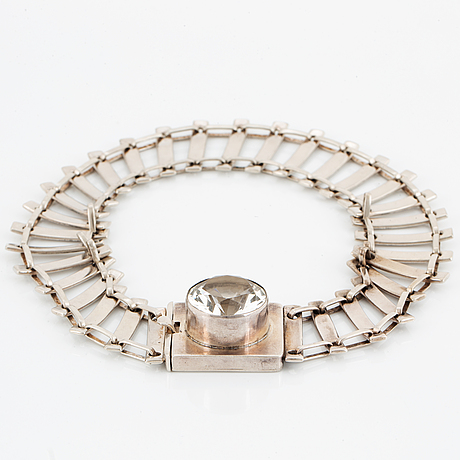HÖgbergs silversmedja, choker, silver with white faceted stone.