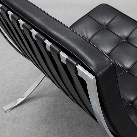 Ludwig mies van der rohe, a 'barcelona' black leather lounge chair, knoll studio.
