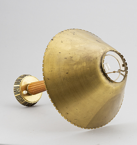 Sonja katzin, a brass and teak table lamp, for asea, 1940s.