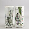 Two chines porcelains brush  stands   20th century.