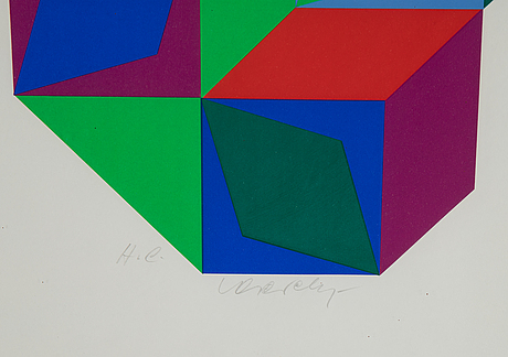 Victor vasarely, silkscreen in colours, signed hc.