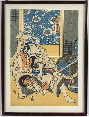 Utagawa kunisada (toyokuni iii) (1786–1864), färgträsnitt, tre stycken. japan, 1800-tal.