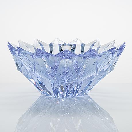 Aimo okkolin, a 'water lily' crystal vase, signed aimo okkolin riihimäen lasi oy.
