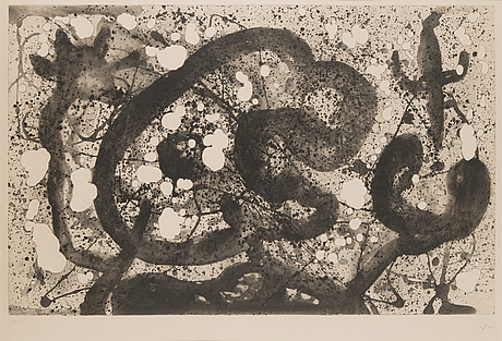 Joan miró, aquatint with embossing, 1960, signed in pencil and numbered 39/50.