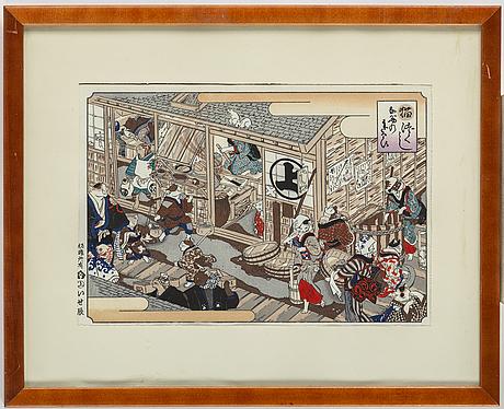 A japanese woodblock print, 20th century.