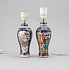 Two famille rose export porcelain vases, turned into table lamps, qing dynasty, qianlong (1736-95).