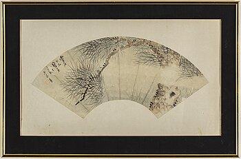 OIDENTIFIERAD KONSTNÄR, solfjädermålning, tusch och färg på papper. Kina, tidigt 1900-tal.