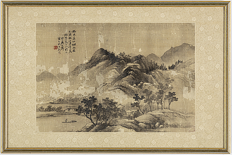 Wu shixian (1845-1916), ink and colour on paper, qing dynasty, signed and dated 1885.