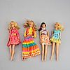 Four barbiedolls with accessories, mattel, 1960's-70's.