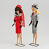 Two barbiedolls with accessories, mattel, 1960's.
