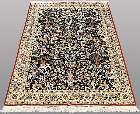 A carpet, figural nain part silk, s.k 9 laa, 177 x 102 cm.