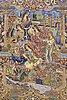 A carpet, figural kashmar, ca 395 x 297 cm.