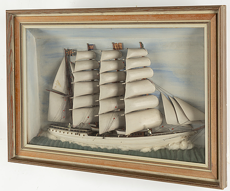 A shipmodel in a box, 19/20th century.
