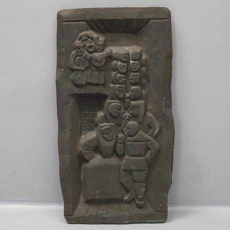 Edvin öhrström, sculpture/embossment. bronze 102 x 53 cm.