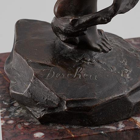 """Jules dercheu, after. """"daphné poursuivie par apollon"""". sculpture. signed. bronze, height 69 cm (including base)."""