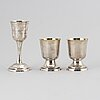 2+1 swedish silver and parcel-gilt cups, 1830-40s.