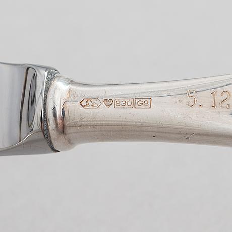 Tapio wirkkala, a 49-piece set of 'tapio' silver cutlery, kultakeskus, hämeenlinna, finland, 1984.