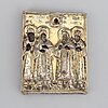 A russian icon, parcel gilt silver, moscow 1792.