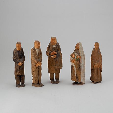 Axel petersson dÖderhultarn, skulpturer, 5 st, snidade och delvis bemålade, stämpelsignerade.
