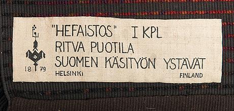 Ritva puotila, finnish ryijy rug for the friends of finnish handicraft. circa 188x125 cm.
