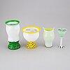 Ulrica hydman-vallien, a set of three glass vases ans a wineglass, kosta boda.