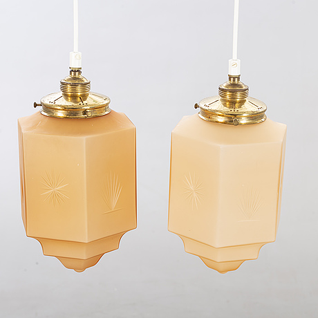Two art deco ceiling lamps 1930's.