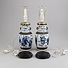 A pair of blue and white and ge vases, turned into table lamps, qing dynasty, circa 1900.