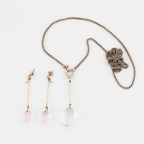 Vivianna torun bÜlow-hÜbe, pendant and earrings, silver with rock crystal/ rosequartz. georg jensen.