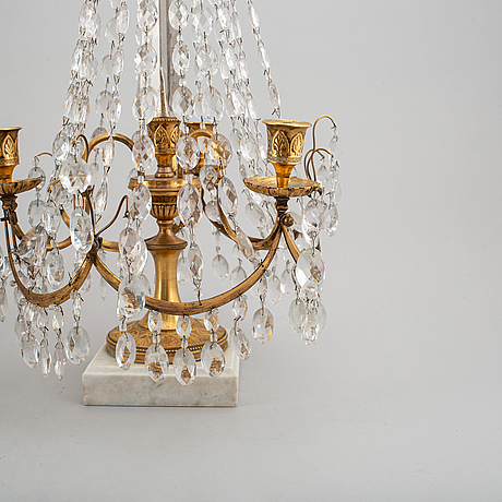 Bordslystrar, ett par, louis seize-stil, 1800-tal.