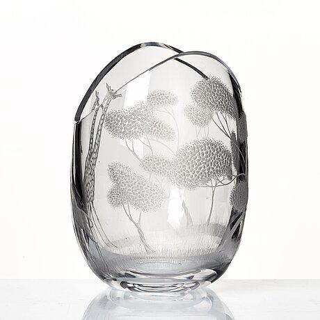 """Vicke lindstrand, an engraved glass vase """"högvilt"""" (safari), kosta, sweden 1950-60's."""