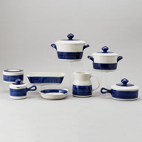 "Hertha bengtsson, matservis, 51 delar, ""koka blå"", rörstrand, formgiven 1956."