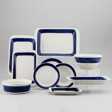 A hertha bengtsson 'koka blå' part dinner service, rörstrand, designed 1956 (51 pieces).