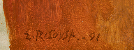 Rubert soysa, oil/acrylic on canvas, signed e.r. soysa and dated -91.