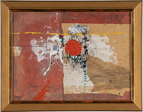 James coignard, mixed media on greaseproof paper glued down on masonite, signed j. coignard.