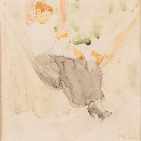 Maria wiik, akvarell, signerad m.w.